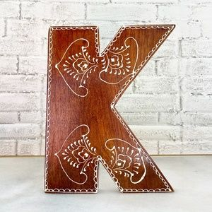 """Urban Outfitters Wood Henna Letter """"K"""""""